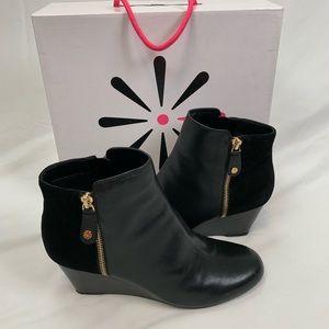Isaac Mizrahi Kierra Black Leather Booties Sz 9W